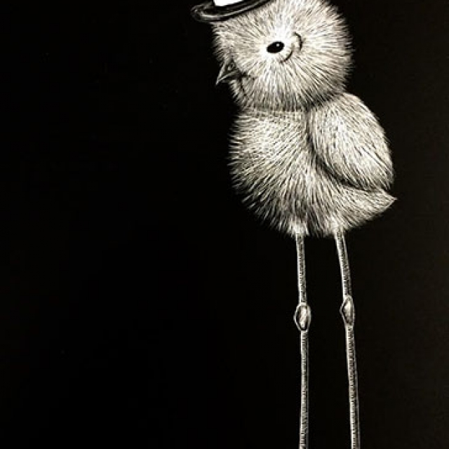 One Fancy Chickadee on Scratchboard copyright @ Ashley Bremer